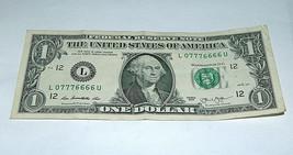 2013 $1 Bill US Bank Note 6's 7's Set, 4 of a Kind 07776666 Fancy Money ... - $14.83