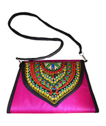 Zonnie Chanda Indian Embroidered Large Purse Pink - $33.93