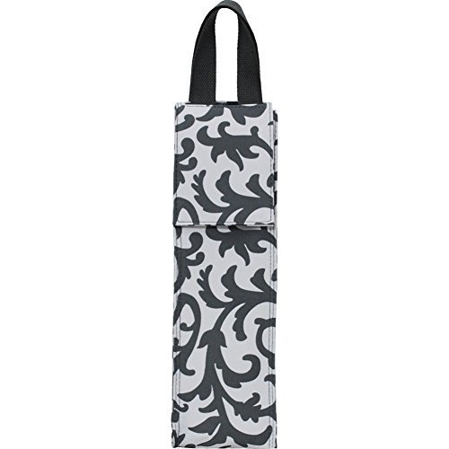 Gray Damask Print NGIL Insulated Wine Bottle Carrier Tote