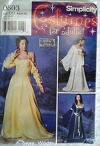 Simplicity #0603 Costume for Adults Pattern Gowns Size DD 4,6,8,10 - $7.42