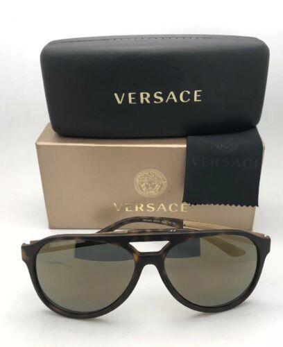 Nuevo Versace Gafas de Sol Ve 4312 5181 / 4T 60-15 Carey & Dorado con / Gris +