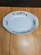 Noritake Casual China Berry Time Oval Serving Bowl White Red Strawberries - $14.80