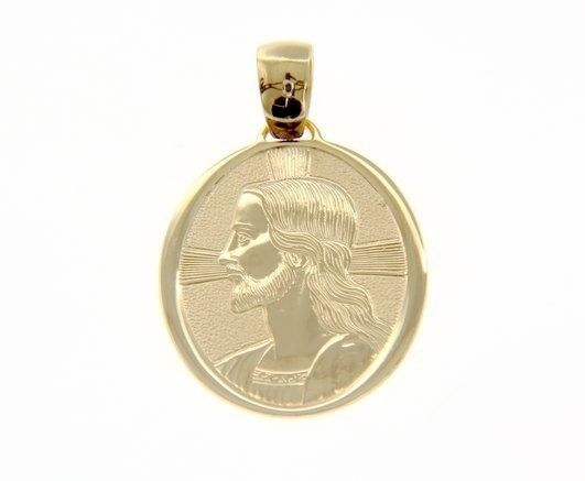 18K YELLOW GOLD PENDANT BIG OVAL MEDAL JESUS FACE 30 MM ENGRAVABLE MADE IN ITALY