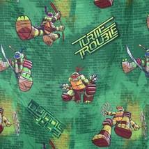 TMNT Nickelodeon Teenage Mutant Ninja Turtle Trouble Twin Flat Sheet Green - $12.86