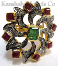 Victorian 1.04ct Rose Cut Diamond Ruby Emerald Cute Wedding Pretty Ring - $294.53