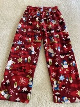 Childrens Place Boys Red Snowman Penguins Polar Bears Fleece Pajama Pants 7-8 - $8.33