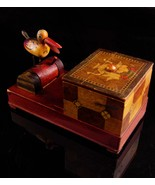 Vintage mechanical bird dispenser - marquetry wood box - bird watcher gi... - $110.00
