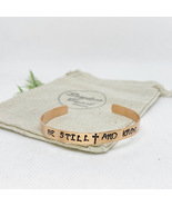 """""""Be Still And Know"""" Copper hand stamped cuff bracelet - Adjustable Size - £7.17 GBP"""