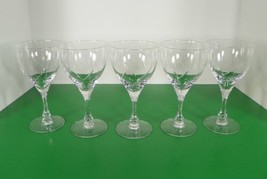 Fostoria Crystal CHAPEL BELLS Water Wine Goblet (s) LOT OF 5 Elegant Glass - $49.45
