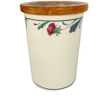 "Lenox Poppies On Blue Canister Large Border 7"" With Wood Lid Utensil Holder - $24.60"