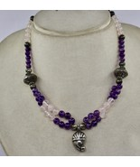 925 STERLING SILVER PENDANT AMETHYST & ROSE QUARTZ ROUND BEADS NECKLACE - $59.85