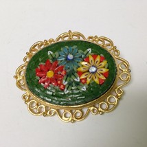 Vintage, Rare, Multi color, Mosaic Tiles, Floral Brooch 1.75in x 1.50in - $23.70