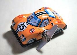 "Vintage Tin Toy Japan New Sanko 3"" Metal Wind Up Auto Turn Yellow Ford R... - $14.80"