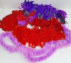 Red & Purple Feather Ornaments & Sm Boa - Lot Of Assorted Sizes & Types - $14.01