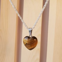 """Tigers Eye Gemstone Pendant Necklace, natural stone crystal jewelry, Silver 24"""" - $11.99"""