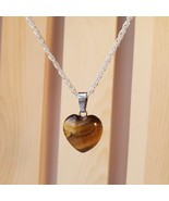 Tigers Eye Gemstone Pendant Necklace, natural stone crystal jewelry, Sil... - $11.99