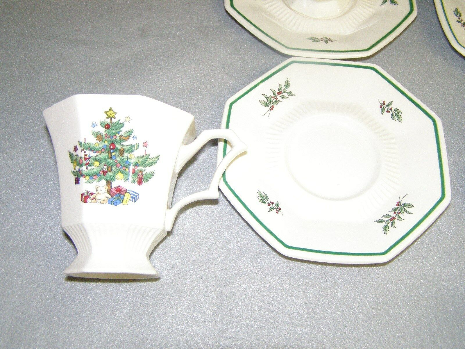 Nikko Christmastime 8 Footed Cups & 7 Saucers Octagon Shaped Very Good Condition