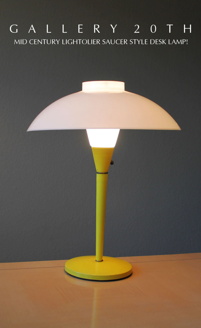 Primary image for MID CENTURY MODERN YELLOW LIGHTOLIER SAUCER LAMP! EAMES 50S VTG ATOMIC LIGHT UFO