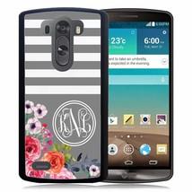 MONOGRAMMED RUBBER CASE FOR LG G6 G5 G4 G3 GRAY STRIPES FLOWERS - $244,35 MXN