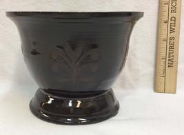 Pottery Vase Dark Chocolate Leaf Motif Handcrafted William Mueller '97 V... - $18.80
