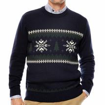 Dockers men's Snowflake Tree Crewneck Cotton Sweater Navy Blue size Large - $15.67
