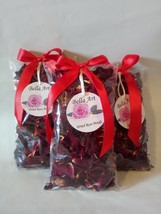 Dried Rose Petals Set with ribbon,Natural Rose,Centerpiece deco,Potpourr... - $10.63