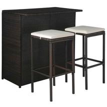 vidaXL 5 Piece Outdoor Bar Set Poly Rattan Brown and Cream White Chair T... - $192.99