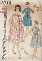 Vintage Sewing Pattern Simplicity 3712 Misses Duster Robe 1960s Size 12 - $6.92