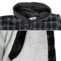 Men's Heavyweight Flannel Zip Up Fleece Lined Plaid Sherpa Hoodie Jacket image 12