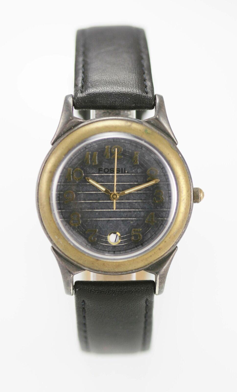 Fossil Watch Mens Stainless Silver Gold Black Leather 30m Date Batt Gray Quartz - $33.45