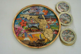 VTG Florida bright color landmarks round metal serving tray with drink c... - $19.75