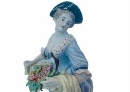 Capodimonte Antique Porcelain Figurine vtg U6 maiden flower basket signed roses - $386.95