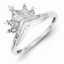 STERLING SILVER .15CT  DIAMOND CROWN  RING - SIZE 7 - £194.31 GBP
