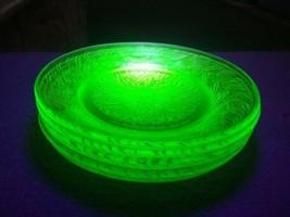 U.S. Glass Scroll Green Depression Uranium Vaseline 6 Bread & Butter Plates - $39.99