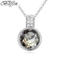 New Fashion Mini Round Pendant Collares Crystals From Swarovski Necklaces For Wo image 4