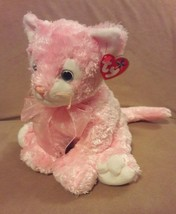 "TY BEANIE BUDDIES pink CARNATION the KITTY CAT Plush 11"" 2004 100% TySilk - $22.43"