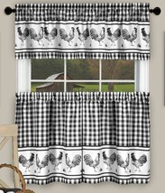 3 pc Kitchen Curtains Set, ROOSTERS BARNYARD, 58x14 & 58x36, Black by Achim - $17.81