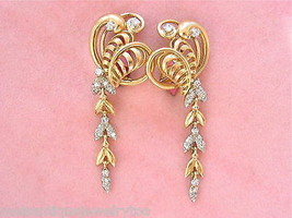 VINTAGE RETRO .45ctw. DIAMOND LEAF & VINE 18K DANGLE COCKTAIL EARRINGS 1... - $1,781.01