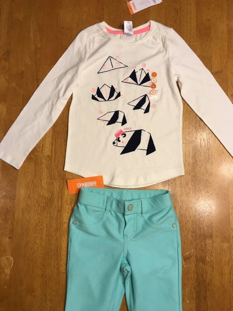 NWT Gymboree Girl's White Panda Origami Shirt & Teal Jeggings Outfit - Size: 5 image 2