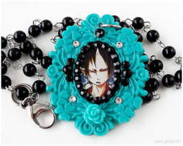 Hoozuki no Reitetsu Decoden Necklace, Teal, Black, Beaded Rosary Chain, ... - $23.00