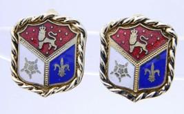 VTG CORO Signed Gold Toned Enamel Coat of Arms Clip Earrings - $29.70