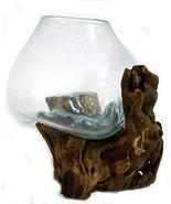 Hand Mouth Molten Glass Bowl Drift Base Wood Nautical Fish Aquarium Terr... - $117.81