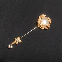 Miriam Haskell Mabe Baroque Pearl Stick Pin Hat Vintage Jewelry Accessories - $90.25
