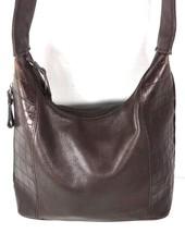 Tignanello Brown Leather With Reptile Print Trim Shoulder Bag - $24.24