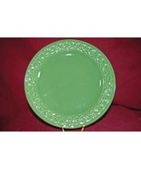 Pier 1 Portugal Pottery Olive Green Rope Braid Rim  Dinner Plate - $10.39