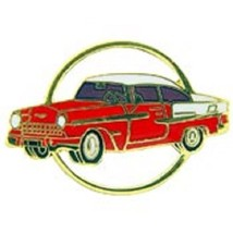 Chevy 1955 Gold Circle Red Car Emblem Pin Pinback  - $7.91