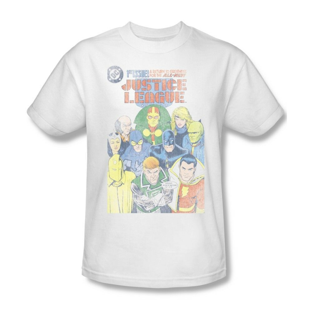 Justice League T-shirt super hero distressed white cotton tee DC comics JLA209