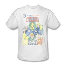 Justice League T-shirt super hero distressed white cotton tee DC comics JLA209 image 1