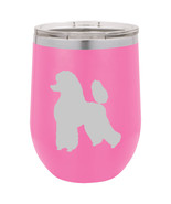 Stemless Wine Tumbler Coffee Travel Mug Glass Double Wall Insulated Poodle - €22,91 EUR