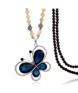 Crystal Butterfly Necklace with Beads - $29.95
